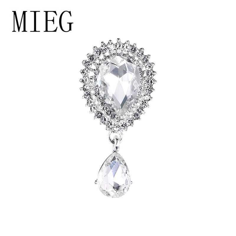 MIEG ยี่ห้อการออกแบบคริสตัล Waterdrop เข็มกลัดผู้หญิงเครื่องประดับเข็มกลัดและ Pins งานแต่งงาน Mujer Bijoux ของขวัญ