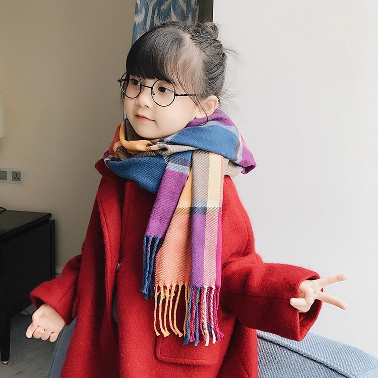 Parent And Child Scarf Autumn & Winter Korean-style Children Thick Scarf Long Versatile Plaid Scarf Faux Cashmere Warm Shawl
