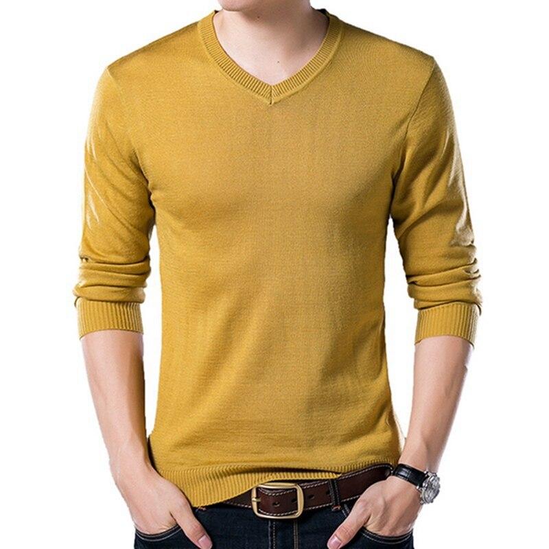 PUI men TIUA осенний Повседневный однотонный базовый Мужской свитер с v-образным вырезом тонкий мужской пуловер вязаный свитер с длинным рукавом мужской свитер размера плюс - Цвет: Yellow