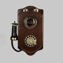 Teléfono de pared con cable antiguo Vintage con esfera giratoria, tonos de llamada mecánicos, Redial, teléfono decorativo de madera para Bar en casa
