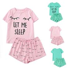 O pajamas Women Girls Cat Fashion Short Sleeve Shorts Print Casual Round Neck Ho