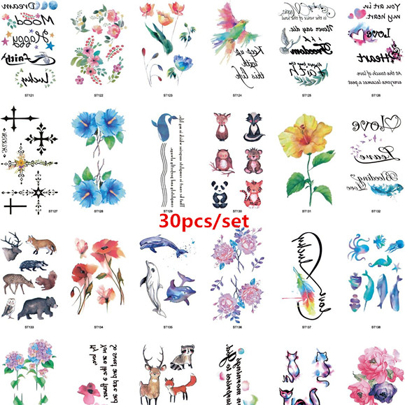 30pcs/set Temporary Tattoo Sticker Animal Flower Fake Tattoo Kids Women Hands Body Tatto  Waterproof Tatuajes Temporales