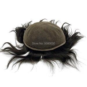 Image 4 - Супер тонкий 100% remy человеческие волосы дышащий полный швейцарский кружевной парик для лысых мужчин