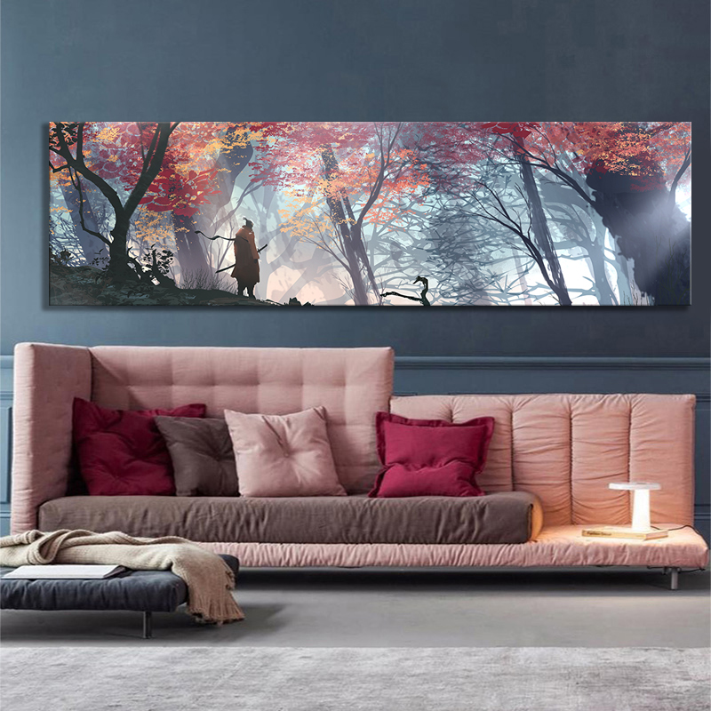 Large Size Game Poster Wall Decor Painting SEKIRO Shadows Die Twice Picture Video Games Art Frameless Painting Wall Art Unframed 2