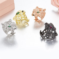 925 Sterling Silver Leopard Head Finger Rings Paved Cubic Zirconia Stones Panther Animal Hollow for Men Women Fine Jewelry
