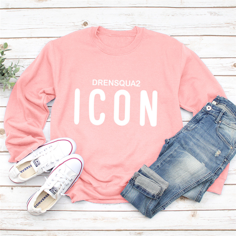 2019 New Icon Print Women Hoodie Long Sleeve Pullover Pink Sweatshirt Spring O-NECK Women Clothes Harajuku Hoodies Casual Top
