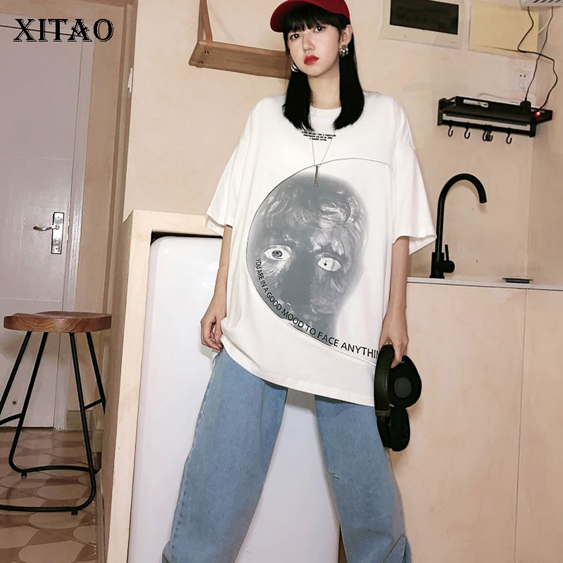 XITAO 2020 Early Spring New T Shirt Personalized Print Women Tops Trend Loose Five-point Sleeve Women Clothes Streetwear DMY3263