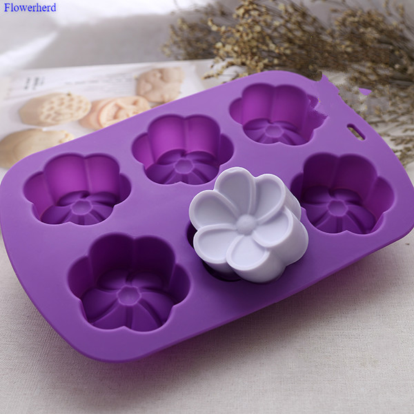 3d Flower Flexible Silicone Soap Mold 6 Cavities Soap Molds For Soap Making Moulds For Plaster Fondant Cake Chocolate Mold