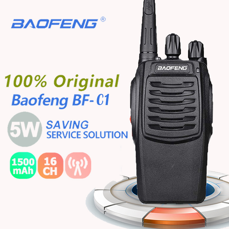 2019 New Baofeng BF-C1 Walkie Talkie 16CH 5W Two-Way Radio UHF 400-470MHz Portable Ham Radio Flashlight PMR Transceiver Walky