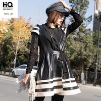 Winter Fashion Womens Colors Mixed Striped Dress Lace Up Sheepskin Genuine Leather Dress High Street Chiffon Patchwork Dress 3XL