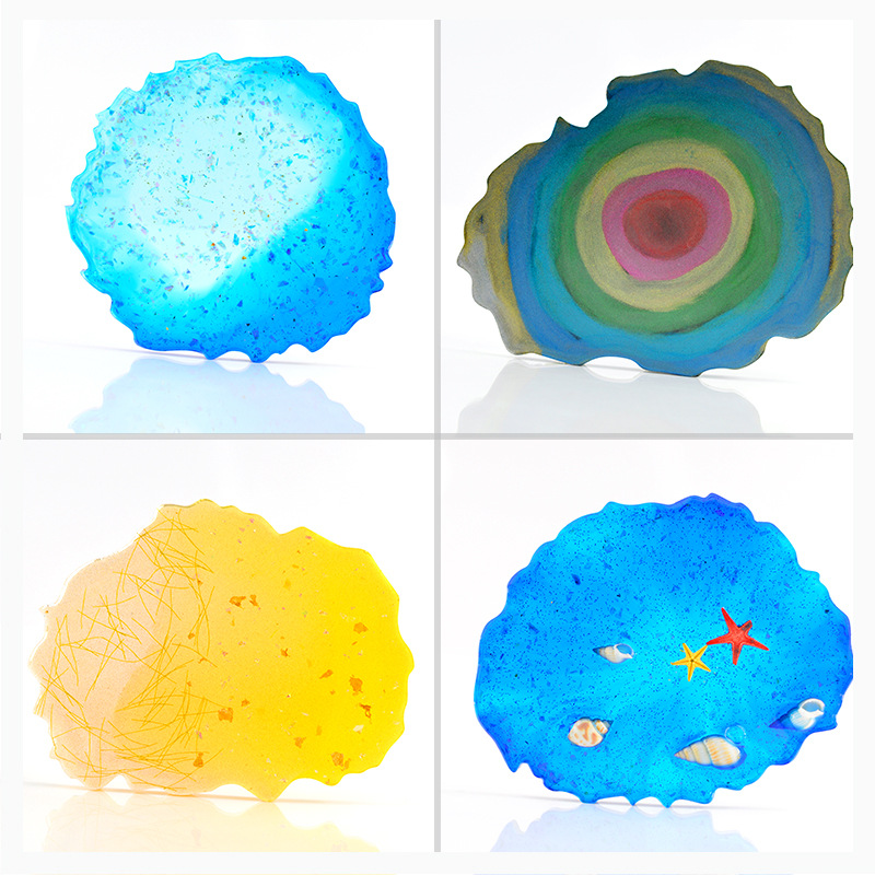 Crystal Coaster Mold Home Decoration Craft Resin Art Supplies Agate Slice Silicone Mold Resin Clear Mold Make Your Own Coaster