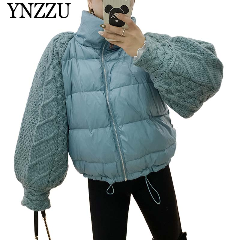 YNZZU Knitted sleeve Patchwork Women   Down   jacket Turtleneck Thick Warm 90% White duck   down     coat   2019 Winter Short Overcoat YO924