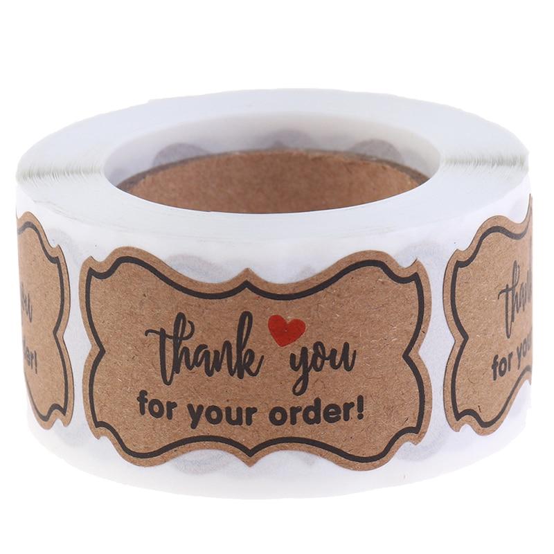 250 adet/rulo için teşekkür ederim sipariş etiketleri el yapımı etiket Kraft kağıt etiket gıda çıkartmaları 3*5cm