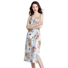 Women Imitation Silk Cami Dress Colorful Floral Print Spaghetti Strap Nightgown Sexy V-Neck Backless Side Slit Sleepwear floral open back slit maxi cami dress