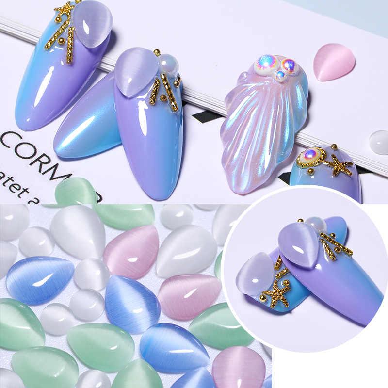 10 pz/borsa Misto Goccioline di Acqua Del Chiodo di Strass Occhio di Gatto di Figura Rotonda Del Chiodo Pietre Unghie Accessori FAI DA TE 3D Unghie artistiche Decorazioni