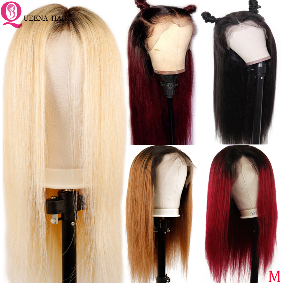 Ombre 99J Straight Front Lace Wig 13x4 Glueless Peruvian Blonde Burgundy Lace Front Human Hair Wigs Natural Black Long Wig Remy