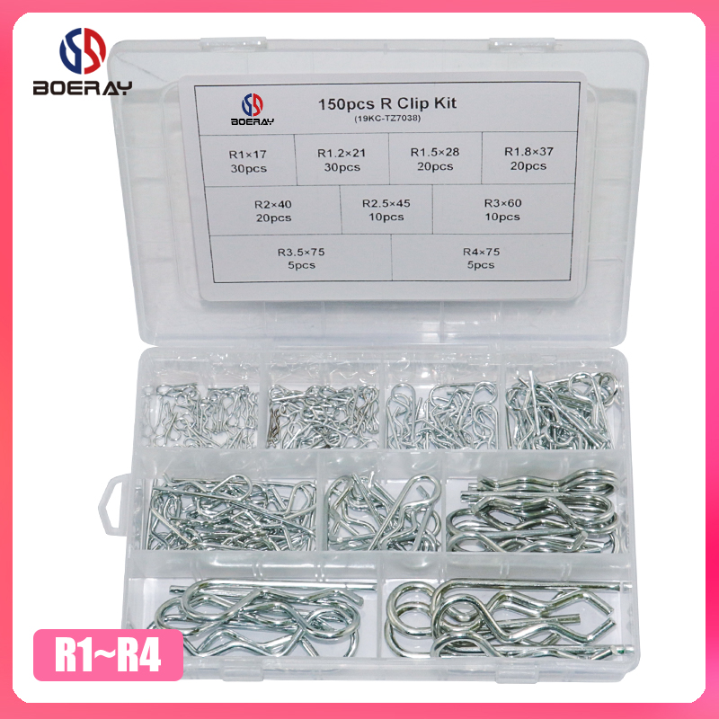 150pcs Carbon Steel R Clip Kits Anti-rust Hair Pin Hitch Retaining R Cotter Pins Tractor Pin Clips Split Cotter Pins Kit 9 Sizes