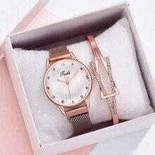 2pcs Set Women Watches Luxury Rhinestones Rose Gold Ladies Wrist