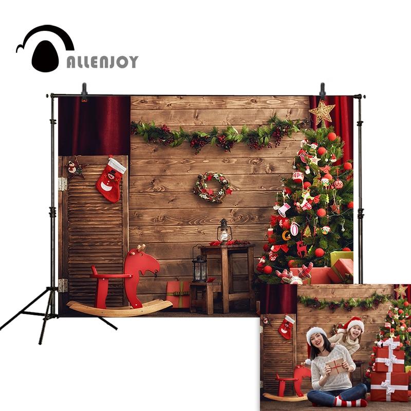 Allenjoy Christmas backdrop tree gifts wooden horse board decoration socks christmas photography backdrops studio