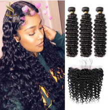 Shinelady 26 28 30 Inch Deep Wave Bundles With 13*4 Lace frontal 100% natural color Remy Human Hair Extensions for Black Women(China)