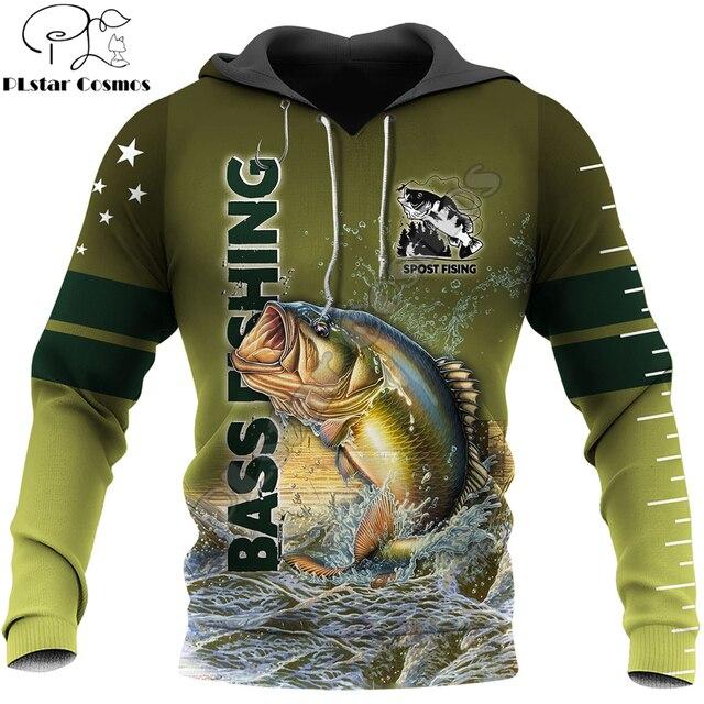 Bass fishing hoodie green