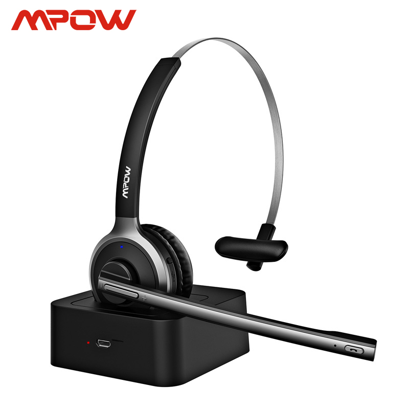 Mpow M5 Pro Bluetooth 4.1 Hoofdtelefoon Met Mic Charging Base Draadloze Headset Voor Pc Laptop Call Center Office 18H praten Tijd