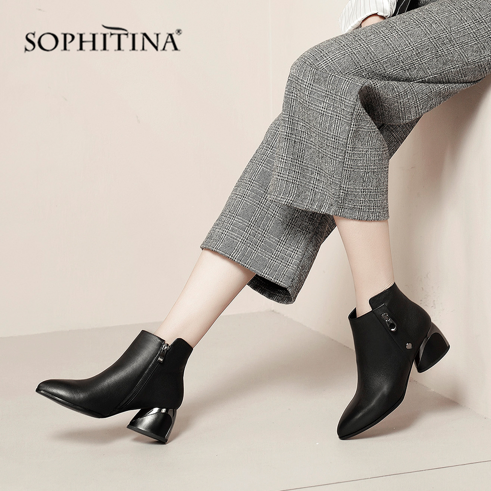 SOPHITINA Sexy Pointed Toe Boots High Quality Genuine Leather Fashion Zipper Comfortable Round Women's Elegant Ankle Boots PO221
