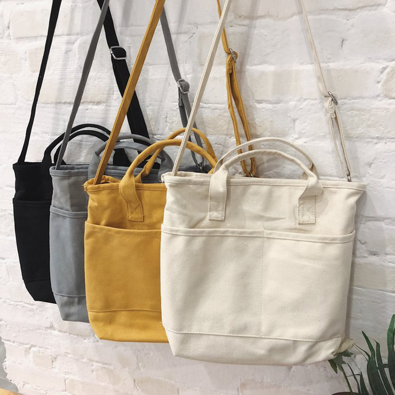New Design Women Canvas Bag Cotton Fabric Shoulder Bag Female Reusable Shopper Tote Ladies Eco Cloth Shopping Bags