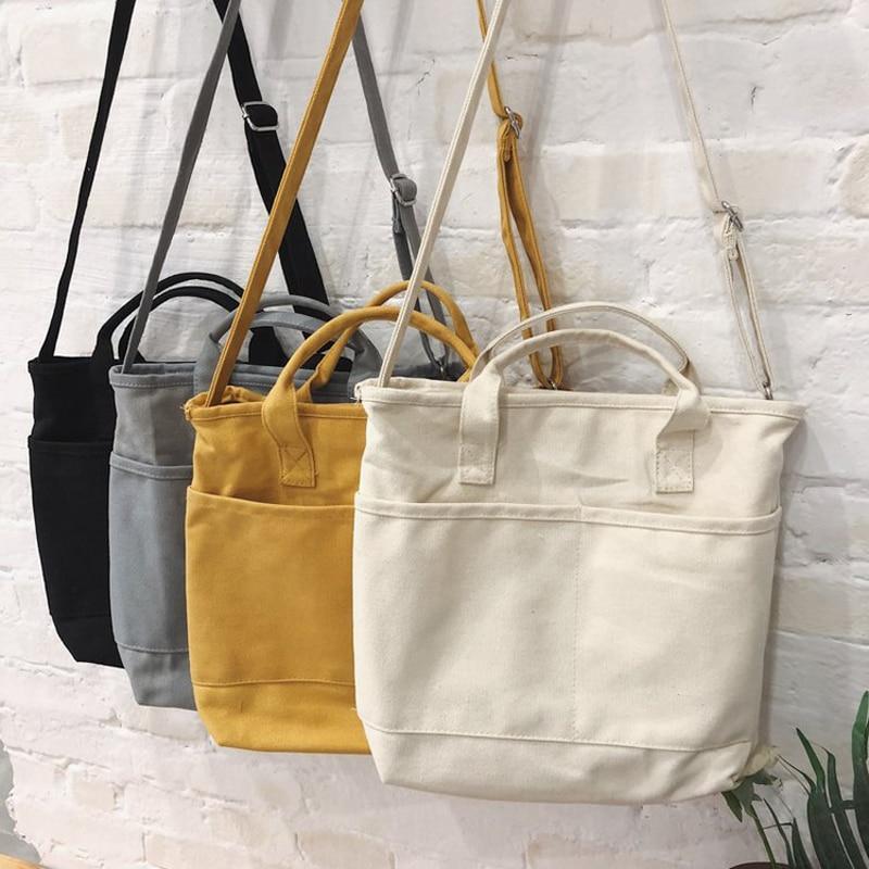 New Design Women Canvas Bag Cotton Fabric Shoulder Bag Female Reusable Shopper Tote Ladies Eco Cloth Shopping Bags