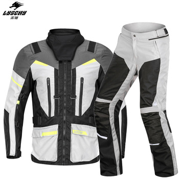 LYSCHY Motorcycle Jacket Pants Waterproof Reflective Riding Protective Gear Motocross chaqueta moto jaqueta Jacket Four Season