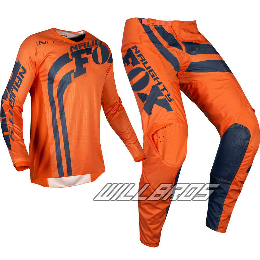 Spring And Summer Motocross Racing 2019 Jersey Pant Mx Off-road Orange Men's Gear Set