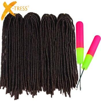 Włosy syntetyczne do warkoczy rozszerzenia Dreadlocks 18-26 cali Ombre brązowy kolor X-TRESS miękkie proste Faux Locs szydełkowe warkocze włosy