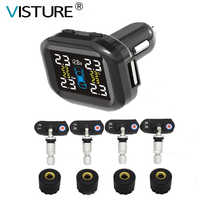 Visture TPMS With 10W USB Output Car Tire Pressure Alarm Monitor System Tyre Monitoring External Internal Sensor T05W T07W T05N