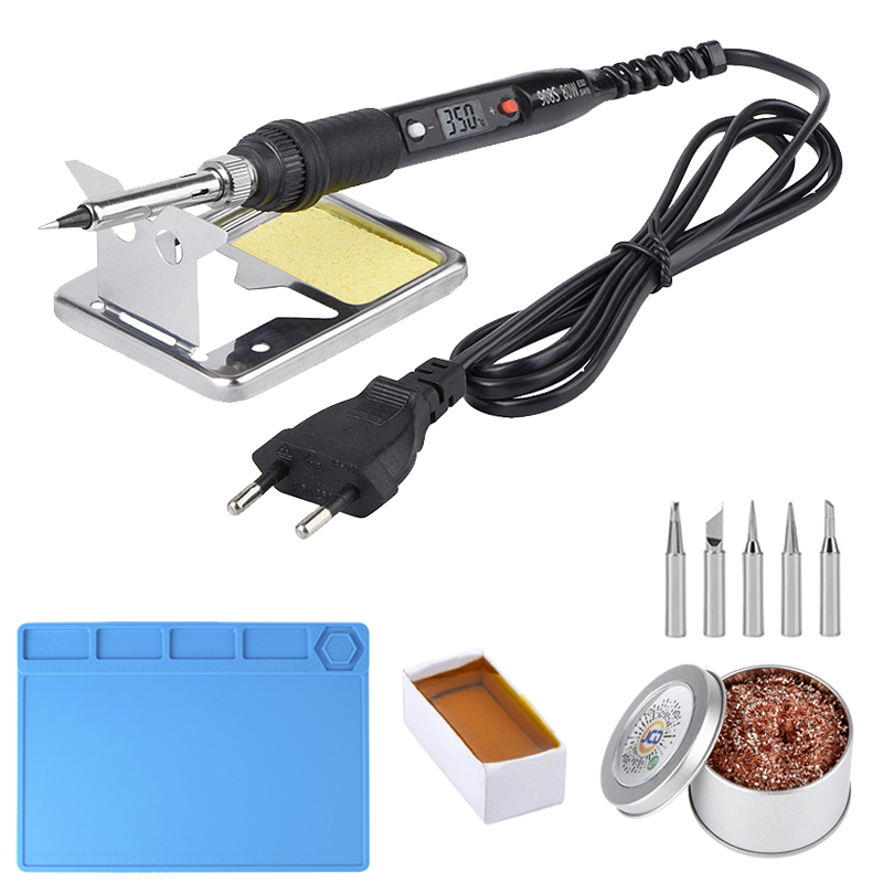 JCD Soldering Iron 220V 110V 80W Temperature Adjustable LCD Soldering Iron Kit Tips ESD Insulation Working Mat Soldering Station