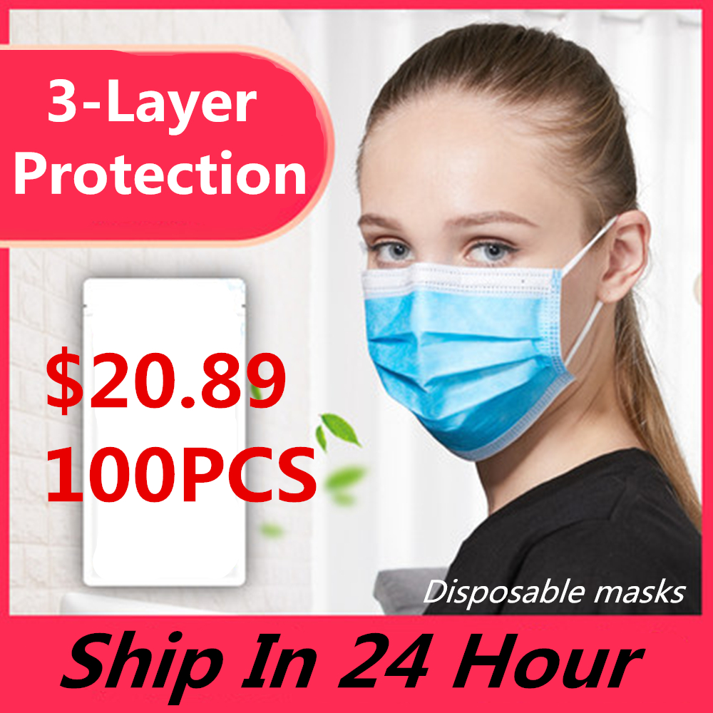 100pcs Mask Disposable Nonwove 3 Layer Ply Filter Mask Mouth Face Mask Filter Safe Breathable Dustproof Protective Masks