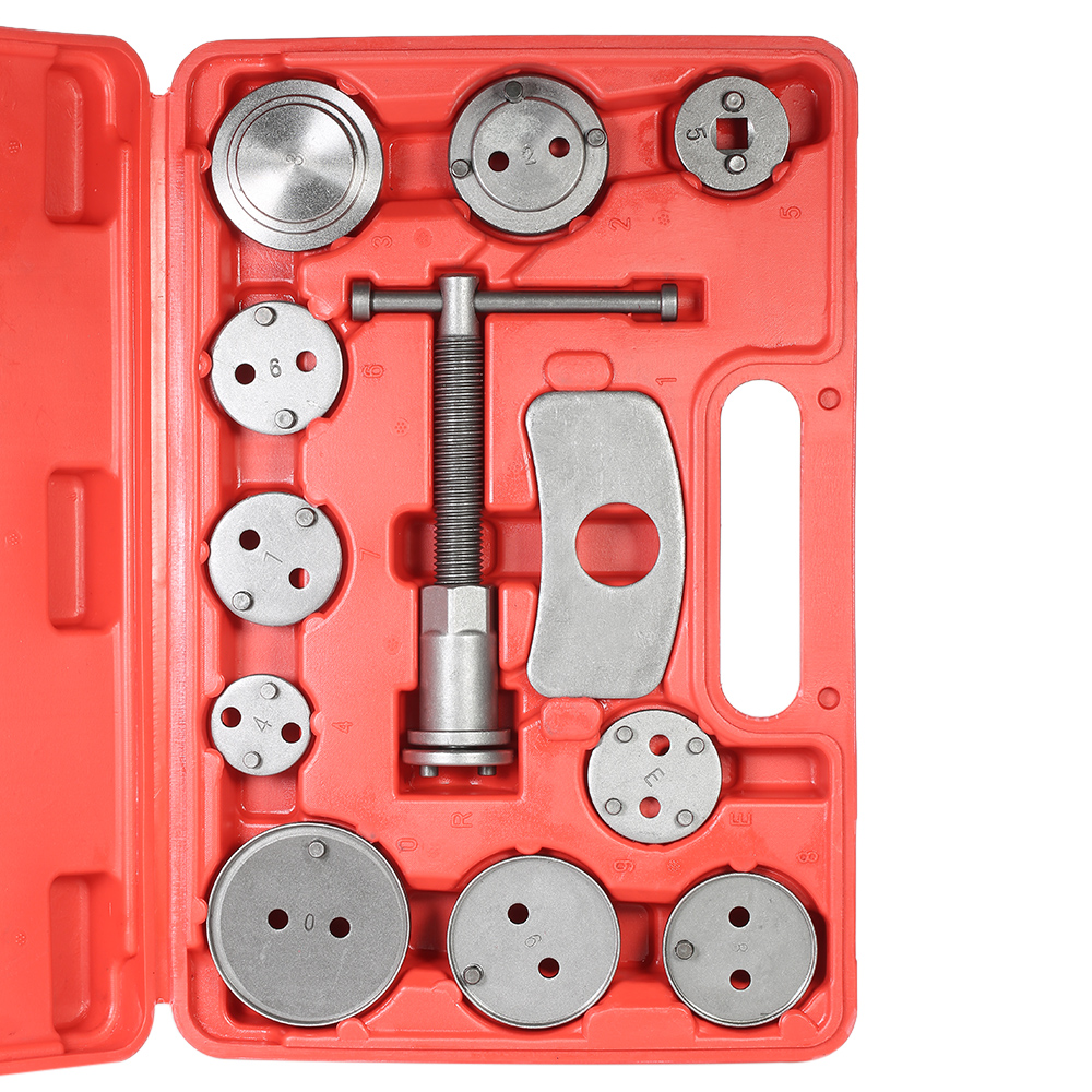 12pcs Auto Universal Disc Brake Caliper Car Wind Back Pad Piston Compressor Automobile Garage Repair Tool Kit Set with Case (as picture)