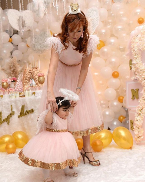 Mother  Daughter  Pink  Birthday Sequin Dresses First Communication Kid Dresses Pink Dresses With Golden Sequin Party Dresses