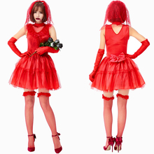 Red Ghost Bride Costume Cosplay Women Bloody Mary Halloween Princess Dress Clothing For Adult