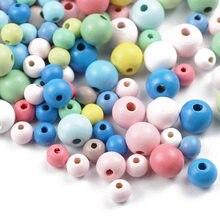 YHBZRET 200pcs Perline Di Legno di Colore 8/10/12mm della Sfera Rotonda Del Distanziatore Perline Perline di Legno Naturale Per creazione di gioielli FAI DA TE Braccialetto Che Trovano