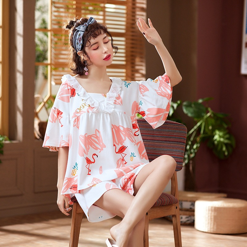 Pajamas Women's Summer 6535 Cotton Short Sleeve Shorts Korean-style Cute Outer Wear Loose Tracksuit Two-Piece Set
