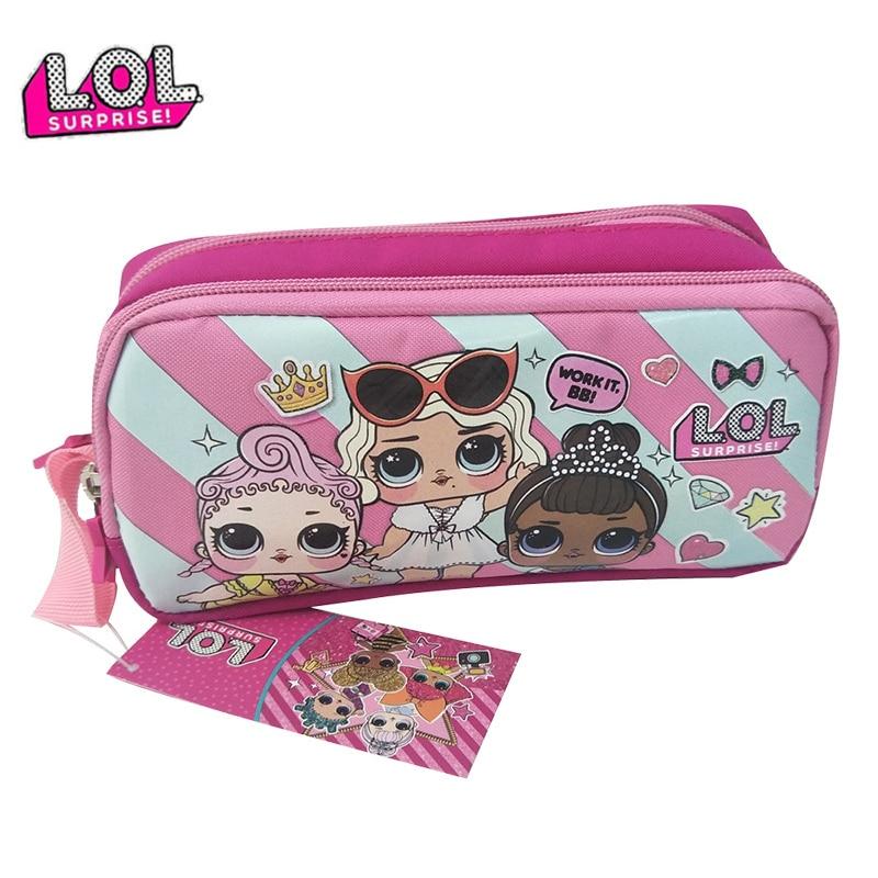 LOL bonecas SURPRESA caixa de Lápis Original l.o.l bonito dos desenhos animados Grande-capacidade duplo-camada Escolar aluno para as meninas