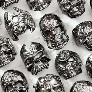Image 3 - 30Pcs Fashion Mens Ring Skull Skeleton Gothic Biker Rings Men Ring Party Favor Wholesale Jewelry Lots Top Quality LR4107