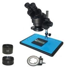 Navio do russo grande mesa zoom 3.5x 90x microscópio estéreo binocular industrial ampliação + 56 ajustável luzes led kits