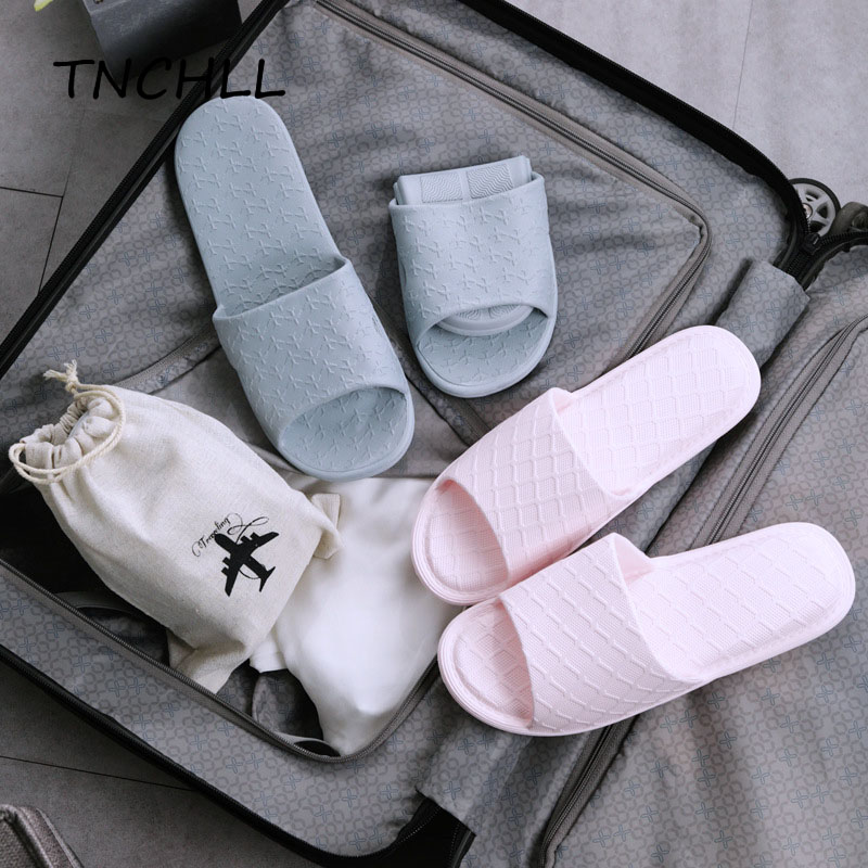 Portable Men Slippers Travel Carrying EVA Non-slip Bathroom Couple Hotel Slippers Foldable Sack Storage Women Slippers NSE7483