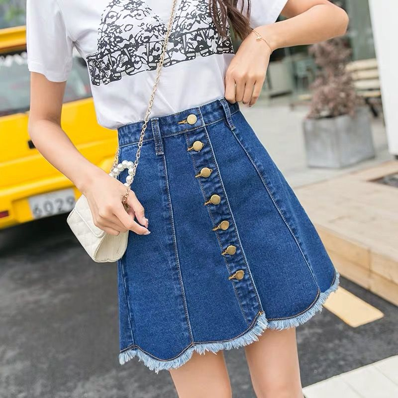 Autumn Summer New Fashion Korean Style Casual Mini <font><b>Jeans</b></font> <font><b>Skirt</b></font> Female Single Breasted <font><b>High</b></font> <font><b>Waist</b></font> <font><b>Denim</b></font> <font><b>Skirts</b></font> For Women P074 image