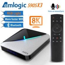 A95X F3 Air 8K RGB Light TV Box Android 9.0 Amlogic S905X3 4GB 64GB Wifi 4K 75fps Netflix Youtube Box Android tv Media player X3