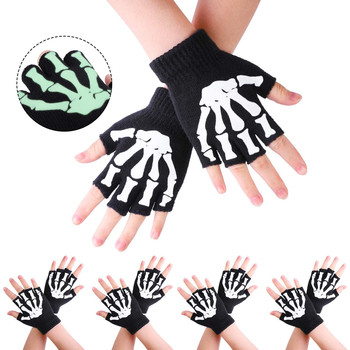 #30 1/2/5 Pairs Kids Gloves Skeleton Warm Glow The Dark Fingerless Knitted Gloves Mitten Halloween Decoration Dress Up Costumes image