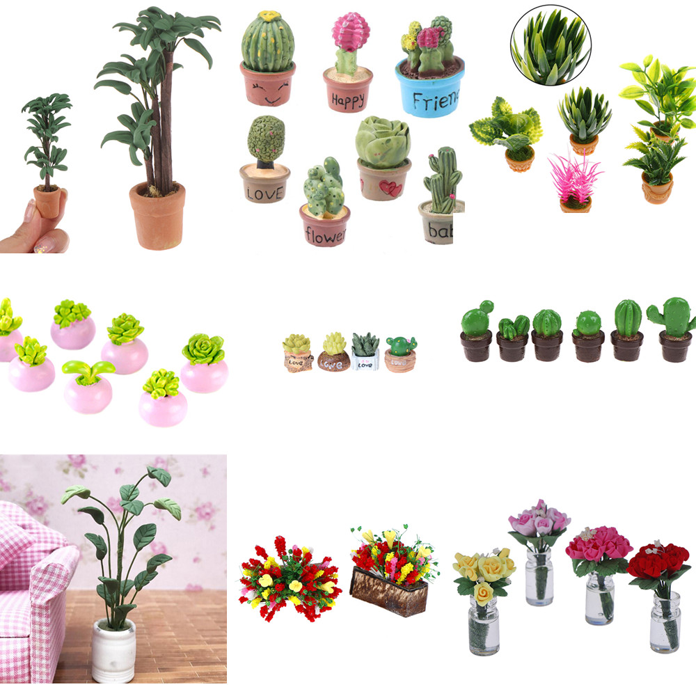 1/5Pcs 1:12 Mini Succulent Plants Home DecorMini Hot Sale Miniature Green Plant In Pot For Dollhouse Furniture Decoration