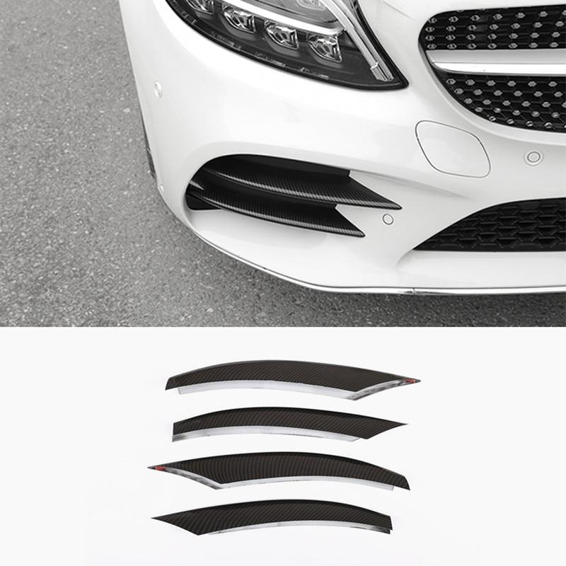 ABS передняя противотуманная фара рамка декоративная крышка Накладка полоски для Mercedes Benz C Class W205 2019 углеродное волокно цветные автомобильны...