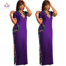 купить BRW African Dresses for Women Short Sleeve Maxi Dresses Straight Dress Print Dress Dashiki African Print Long Dress WY1237 по цене 3024.69 рублей